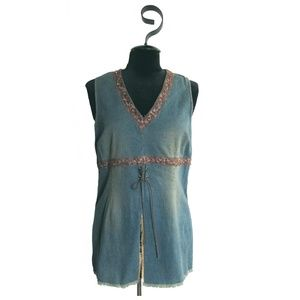 Bisou Bisou Boho Stretch Denim Tunic Top ~ Size 12